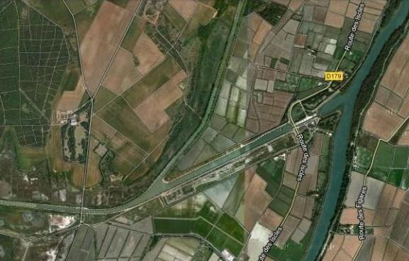 vue aerienne canal rhone a set et espeyran